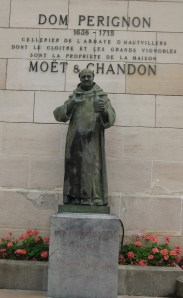 Statue of Dom Perignon outside Moet & Chandon in Epernay